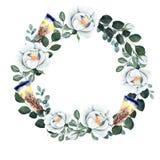 Floral προ-γίνοντα απομονωμένο στεφάνι στοιχείων στο άσπρο υπόβαθρο ελεύθερη απεικόνιση δικαιώματος