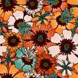 floral πρότυπο άνευ ραφής Λουλούδια που σύρονται διακοσμητικά με το χέρι Χρώμα διανυσματική απεικόνιση
