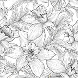 floral πρότυπο άνευ ραφής Λουλούδι και χαραγμένο φύλλα υπόβαθρο Στοκ φωτογραφία με δικαίωμα ελεύθερης χρήσης