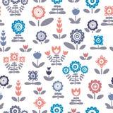 floral πρότυπο άνευ ραφής Μοναδικά handdrawn λουλούδια και φύλλα Στοκ εικόνες με δικαίωμα ελεύθερης χρήσης