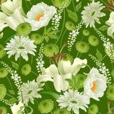 floral πρότυπο άνευ ραφής Ο κήπος ανθίζει peonies διανυσματική απεικόνιση