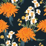 floral πρότυπο άνευ ραφής Πορτοκαλιά ιαπωνικά εθνικά χρυσάνθεμο και χορτάρια λουλουδιών απεικόνιση αποθεμάτων
