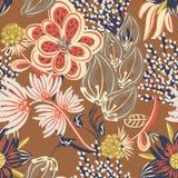 floral πρότυπο άνευ ραφής Συρμένο χέρι δημιουργικό λουλούδι Ζωηρόχρωμο καλλιτεχνικό υπόβαθρο με το άνθος Αφηρημένο χορτάρι απεικόνιση αποθεμάτων