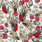 floral πρότυπο άνευ ραφής Συρμένο χέρι δημιουργικό λουλούδι Στοκ Φωτογραφία