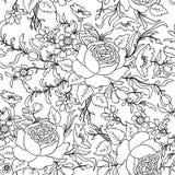 floral πρότυπο άνευ ραφής Υπόβαθρο σκίτσων περιλήψεων λουλουδιών Στοκ Εικόνα