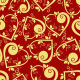 floral πρότυπο καρδιών άνευ ραφής απεικόνιση αποθεμάτων