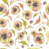 floral πρότυπο καρδιών λουλουδιών απελευθέρωσης πεταλούδων κίτρινο Απεικόνιση αποθεμάτων