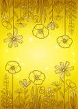 floral πρότυπο καρδιών λουλουδιών απελευθέρωσης πεταλούδων κίτρινο Στοκ φωτογραφία με δικαίωμα ελεύθερης χρήσης