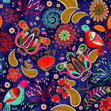 floral πρότυπο πουλιών άνευ ραφή& Στοκ Εικόνες
