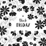 Floral πρότυπο σχεδίου για τη μαύρη πώληση Παρασκευής διανυσματική απεικόνιση