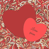 Floral πλαίσιο καρδιών σχεδίων doodle εθνικό Στοκ Εικόνες