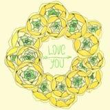Floral πλαίσιο με τα κίτρινα λουλούδια που τακτοποιούνται σε μια μορφή του wrea Στοκ Εικόνες