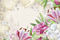 Floral πλαίσιο με τα liles και τα oleanders Στοκ Εικόνα