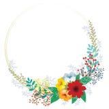 Floral πλαίσιο πρόσκλησης με τα αφηρημένα χαριτωμένα λουλούδια στον τρύγο Στοκ φωτογραφία με δικαίωμα ελεύθερης χρήσης