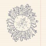 Floral πλαίσιο Doodles σε χαρτί grunge, διανυσματική απεικόνιση Χέρι Στοκ εικόνες με δικαίωμα ελεύθερης χρήσης
