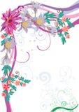 floral ροζ λωτού γωνιών Στοκ Εικόνες