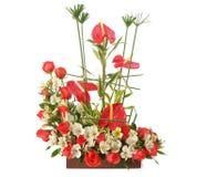 Floral ρύθμιση με τα τριαντάφυλλα στο ξύλινο δοχείο Στοκ Εικόνα