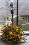 Floral ρύθμιση στις ανθοδέσμες στην έκθεση αρθ. 2018 Στοκ Φωτογραφία