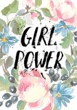 floral σειρά πλαισίων πλαισίων Ένα στεφάνι των τριαντάφυλλων watercolor Επιγραφή δύναμης κοριτσιών Τελειοποιήστε για τις γαμήλιες Στοκ Εικόνα