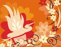 floral σειρά πουλιών ανασκόπησ&et Στοκ Φωτογραφίες