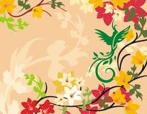 floral σειρά πουλιών ανασκόπησ&et Στοκ εικόνα με δικαίωμα ελεύθερης χρήσης