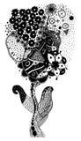 Floral σκίτσο zentangle Στοκ Εικόνες