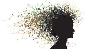 floral σκιαγραφία κοριτσιών διανυσματική απεικόνιση