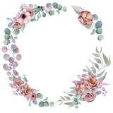 Floral στεφάνια Watercolor με την κορδέλλα για το κείμενό σας το έμβλημα είναι μπορεί διαφορετικοί floral σκοποί απεικόνισης χρησ Στοκ εικόνα με δικαίωμα ελεύθερης χρήσης
