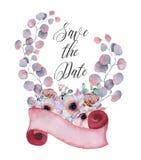 Floral στεφάνια Watercolor με την κορδέλλα για το κείμενό σας το έμβλημα είναι μπορεί διαφορετικοί floral σκοποί απεικόνισης χρησ Στοκ Εικόνες