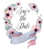 Floral στεφάνια Watercolor με την κορδέλλα για το κείμενό σας το έμβλημα είναι μπορεί διαφορετικοί floral σκοποί απεικόνισης χρησ Στοκ Φωτογραφίες