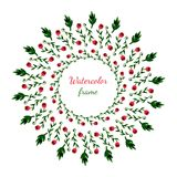 Floral στεφάνι Κάρτα πρόσκλησης, γάμου ή γενεθλίων floral σειρά πλαισίων πλαισίων Ανασκόπηση Watercolor με τα λουλούδια Απεικόνισ Στοκ φωτογραφία με δικαίωμα ελεύθερης χρήσης