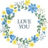Floral στεφάνι με τα μπλε και κίτρινα λουλούδια Στοκ εικόνες με δικαίωμα ελεύθερης χρήσης