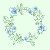 Floral στεφάνι με τα μπλε τριαντάφυλλα απεικόνιση αποθεμάτων