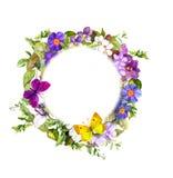 Floral στεφάνι - λουλούδια λιβαδιών, άγρια χλόη, πεταλούδες άνοιξη watercolor Στοκ Φωτογραφία