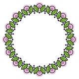 Floral στεφάνι στο ύφος zentangle Πλαίσιο κύκλων φιαγμένο από γεωμετρικά λουλούδια και φύλλα Στοκ εικόνα με δικαίωμα ελεύθερης χρήσης