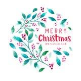 Floral στεφάνι Χριστουγέννων Στοκ εικόνες με δικαίωμα ελεύθερης χρήσης