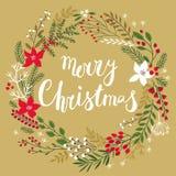 Floral στεφάνι Callygraphic Χριστουγέννων - χέρι που σύρεται ελεύθερη απεικόνιση δικαιώματος