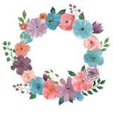 Floral στεφάνι Watercolor Απομονωμένη απεικόνιση στο άσπρο υπόβαθρο απεικόνιση αποθεμάτων