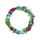 Floral στεφάνι Watercolor με μια κορδέλλα Στοκ φωτογραφίες με δικαίωμα ελεύθερης χρήσης