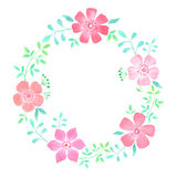 Floral στεφάνι Watercolor στοκ εικόνες
