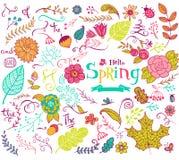 Floral στοιχεία σχεδίου άνοιξη στο ύφος doodle Στοκ εικόνες με δικαίωμα ελεύθερης χρήσης