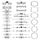 Floral στοιχεία σχεδίου καθορισμένα, διακοσμητικά εκλεκτής ποιότητας πλαίσια με τις κορώνες Στοκ Φωτογραφία