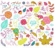 Floral στοιχεία σχεδίου στο ύφος doodle Στοκ φωτογραφίες με δικαίωμα ελεύθερης χρήσης