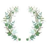 Floral στρογγυλό στεφάνι, κορώνα χορταριών Στοκ Εικόνες