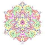 Floral στρογγυλό mandala για την περισυλλογή και τη χαλάρωση Στοκ Φωτογραφία