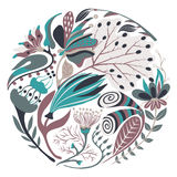 Floral στρογγυλή μορφή Συρμένο χέρι δημιουργικό λουλούδι στον κύκλο Ζωηρόχρωμο καλλιτεχνικό υπόβαθρο με το άνθος Αφηρημένο χορτάρ ελεύθερη απεικόνιση δικαιώματος