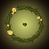 Floral στρογγυλό πλαίσιο με τα chamomile λουλούδια και το σκοτεινό υπόβαθρο Στοκ Εικόνες