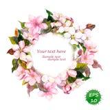 Floral στρογγυλό στεφάνι με τα ρόδινα λουλούδια για το κομψό σχέδιο τρύών και μόδας Διάνυσμα Watercolor απεικόνιση αποθεμάτων