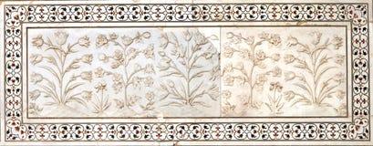 Floral σχέδια στο Taj Mahal σύνθετο Στοκ Φωτογραφία