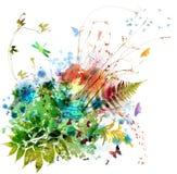 Floral σχέδιο άνοιξης και καλοκαιριού, ζωγραφική watercolor Στοκ Εικόνες